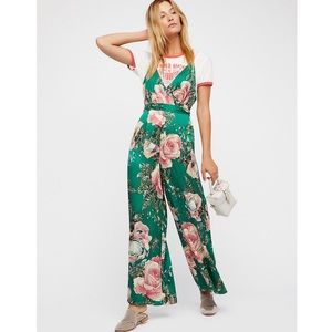 Free People | Green Floral Cabbage Rose Jumpsuit